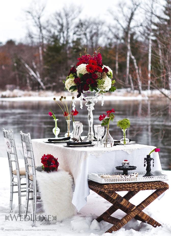 Zimowe dekoracje ślubnego stołu (źródło: pinterest)