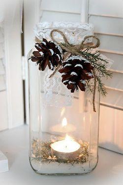 Miłym akcentem będą samodzielnie przygotowane zimowe lampiony (źródło: pinterest)