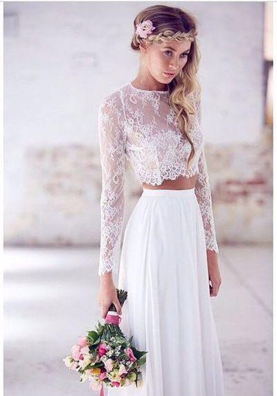 dwuczęściowa suknia w stylu boho w delikatnej koronki