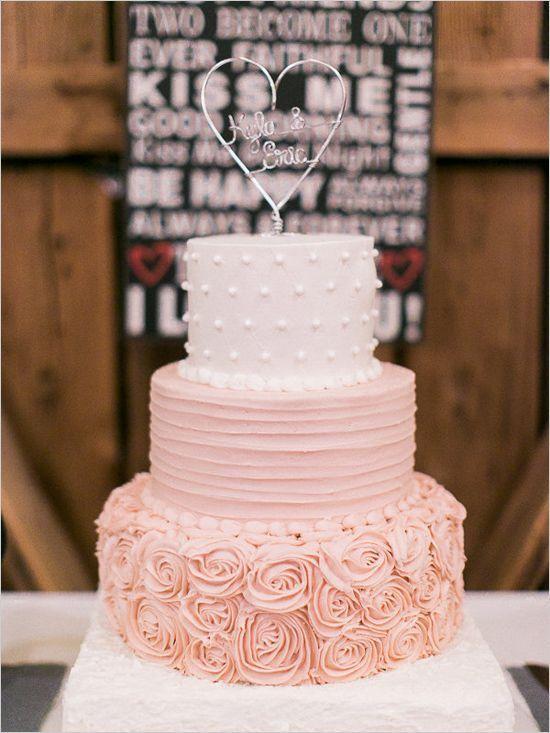 różowy tort na ślub